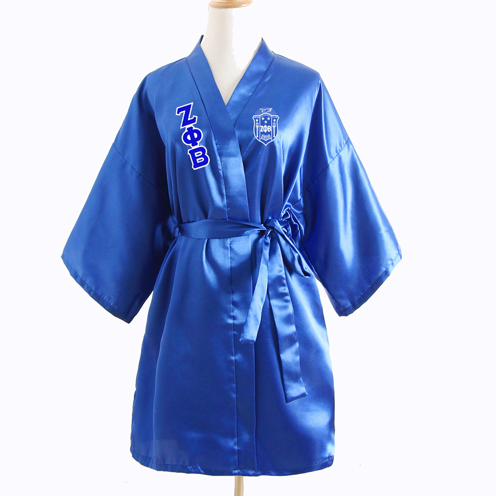 Sorority Fraternity Loose Silk Bathrobe Lace Satin  Zeta Phi Beta  ZPB Clothes Robe Dressing