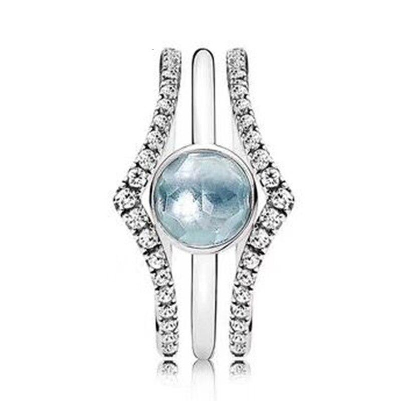 2018 nouveau 100% 925 bague en argent Sterling amour Constellation empilé anneau bague de mariage pour la mode femmes bricolage cadeau bijoux
