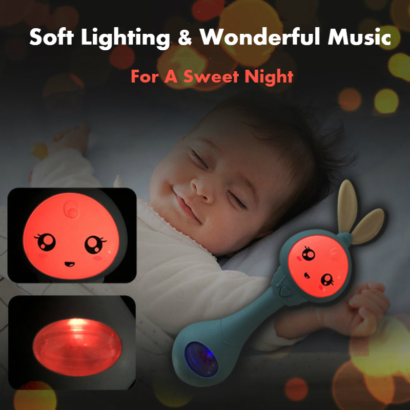 Baby Music Flashing Teether Rattle Toys Rabbit Hand Bells Mobile Infant Pacifier Weep Tear Newborn Early Educational Toys 0-12M 3