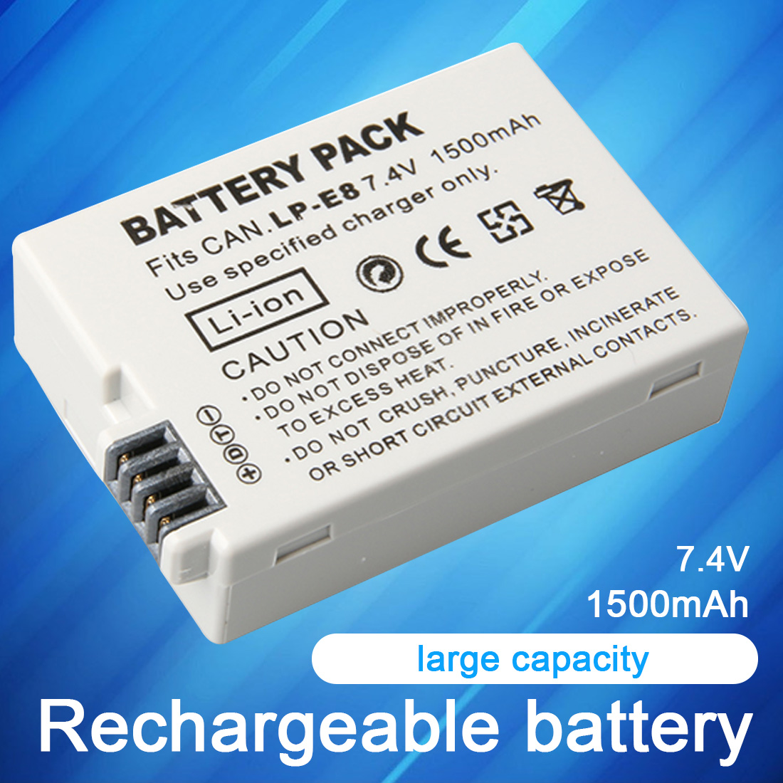 LP-E8 Lithium Polymer <font><b>Battery</b></font> 7.4V 1500mAh LP-E8 Li-ion <font><b>Battery</b></font> For <font><b>Canon</b></font> EOS <font><b>550D</b></font> 600D 650D 700D X4 X5 Li-Po <font><b>Battery</b></font> image