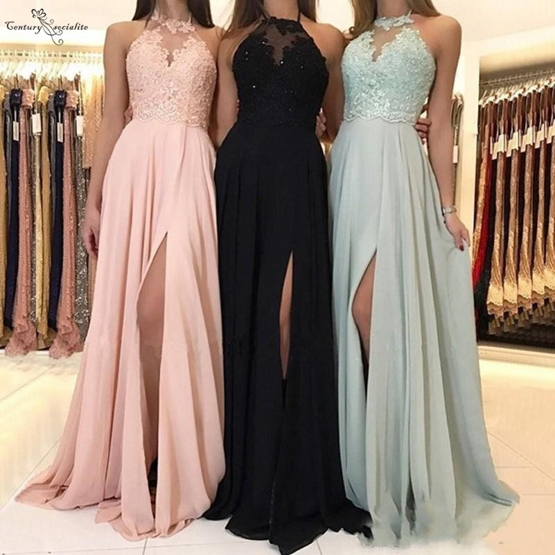 2020 Bridesmaid Dresses Long Side Split Lace Appliques Beaded Chiffon Maid Of Honor Gowns Party Dress Wedding Guest Gowns