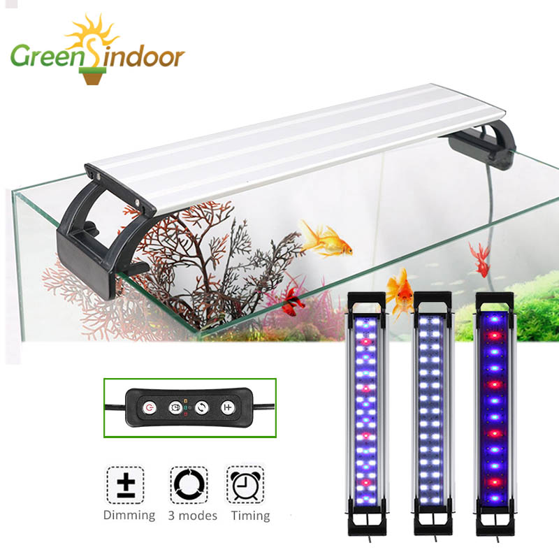 Aquarium Light RGB Fish Tank Lamp LED Lighting Fishing Tank 20-65CM Led Planted With Timer Aquatic Plant Indoor Water Decoration