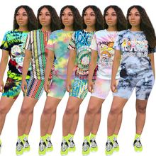 Women's Yoga Suit Sports Leisure Printed Short Sleeve Top Capris 2 Pieces Set Tracksuit for Female Running Training Fitness