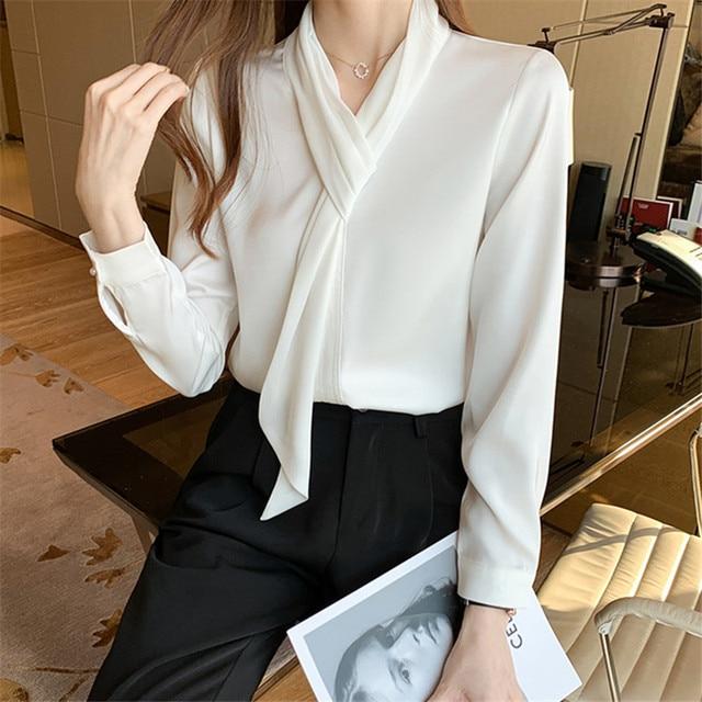Chikichi 2021 Korean White Chiffon Shirt Women Spring and Autumn Tops Office Ladies Satin Blouse Women Long Sleeve 6