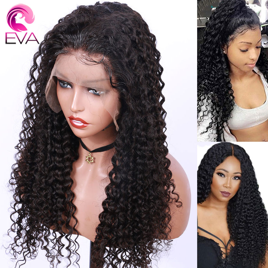 Eva Hair 250% Density 360 Lace Frontal Human Hair Wigs Pre Plucked With Baby Hair Curly Brazilian Remy Hair Wigs For Black Women