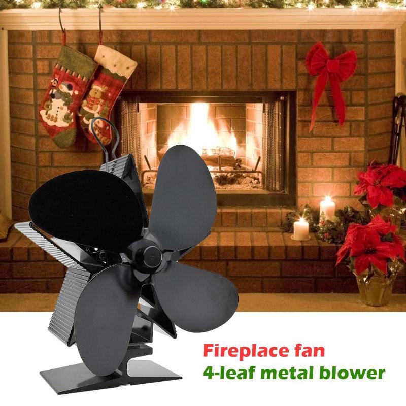 4 Blade Heat Powered Stove Fan Wood Burner Home Heat Distribution Quiet Fan Fireplace Fan 4 Blade Metal Blower Fireplace Parts