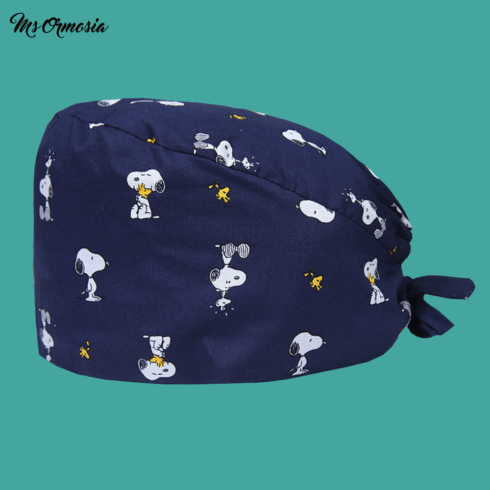 New Pet Veterinary Surgical Cap Medical Work Caps Nursing Hats Ground Cap Tieback Straps Adjustable Sweatband Dental Clinic Hats