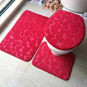 Image 3 - Zestaw dywaników do łazienki 3D tłoczone podłoga w łazience dywan flanelowe mata toaletowa z pokrywa 3 sztuka/zestaw antypoślizgowe w kształcie litery U zestaw mat do kąpieli