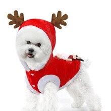 Рождественская одежда для домашних животных, для собак Олени Санта-Клауса милый костюм с изображением котенка Наряжаться пальто Зимняя теплая толстовка для маленького щенка большая рождественская одежда для домашних животных
