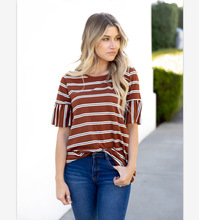 Women's new striped sleeves stitching round neck T-shirt pink flounced stitching round neck bell sleeves shirts