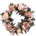 Венок из искусственных роз  Шелковый цветок  венок  Круглый венок  украшение для дома  теплое романтическое украшение для дома
