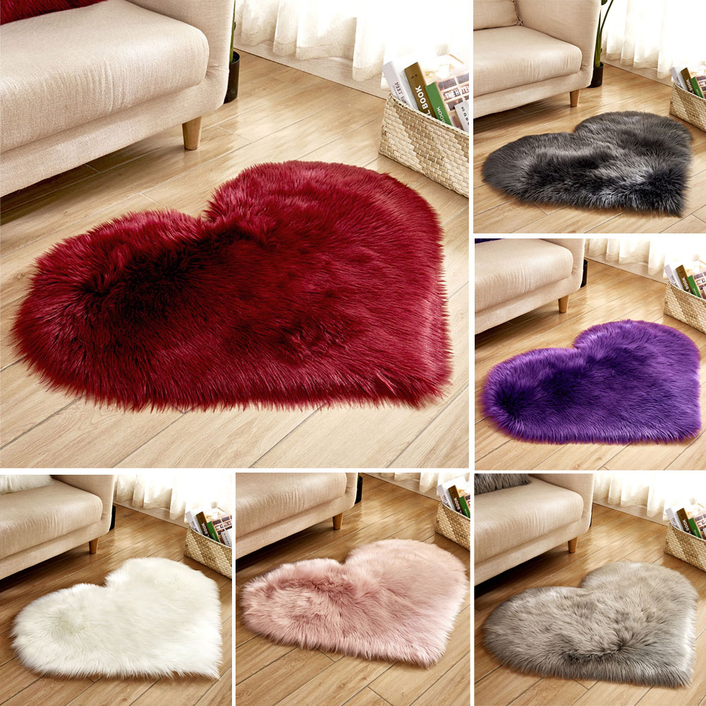 Artificial Wool Sheepskin Baby Room Bedroom Soft Area Mat Long Hairy Rug Blue White Pink Shaggy Carpet Love Heart Shape Fur Rugs