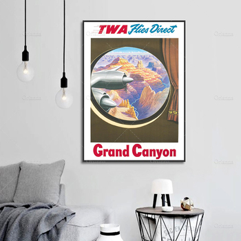 Modern HD Modular Prints Vintage TWA Airline Travel Poster Across The Grand Canyon Wall Art Canvas Painting Pictures Living Room image