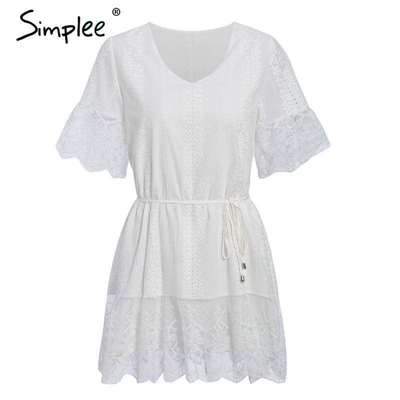 Simplee A-line cotton embroidery women dress Elegant solid v-neck lace up female dress Party club ruffled lace ladies midi dress