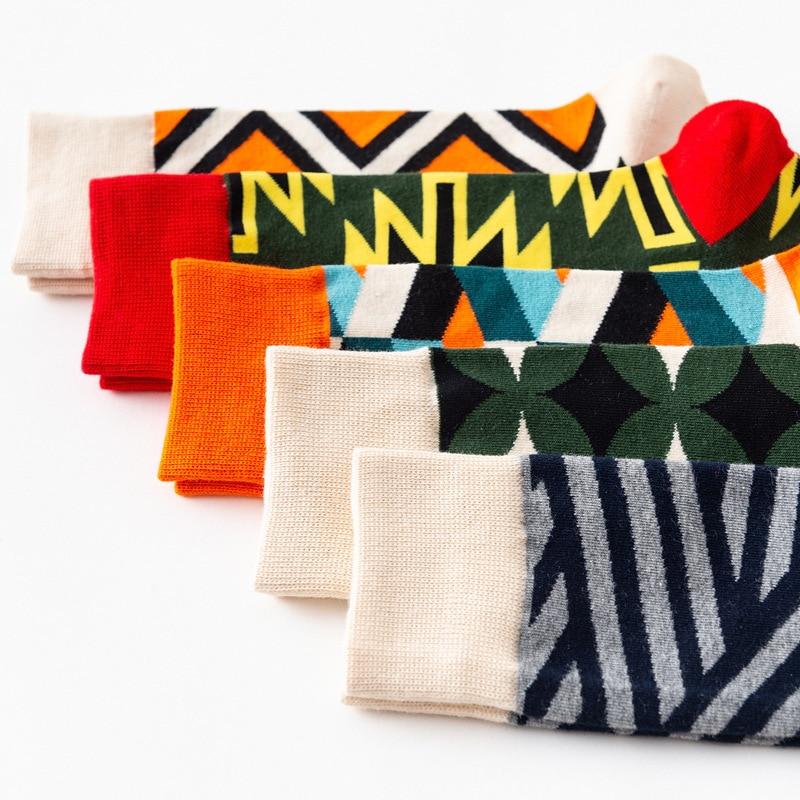 fashionable men socks happy colorful street skateboarding stockings funny happies socks women chaussettes femmes 5 pcs
