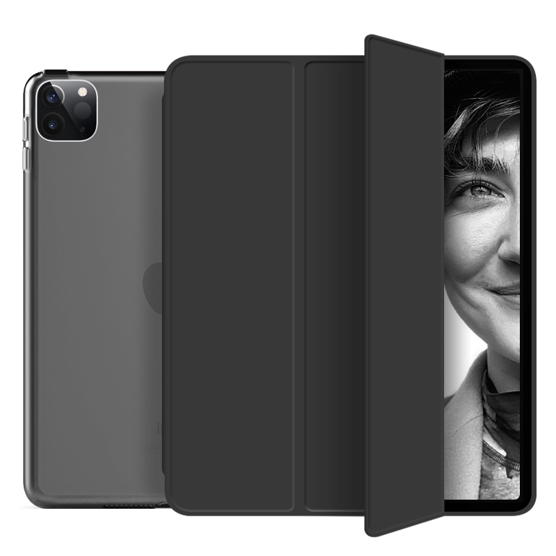 black Black Funda For iPad Pro 2020 12 9 inch 4th Case PU Leather Trifold Stand PC Hard