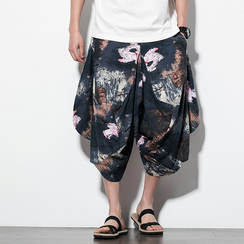 Chinese Style Summer 2019 New Mens Retro-printed Loose Seven-cent Pants Young Wear