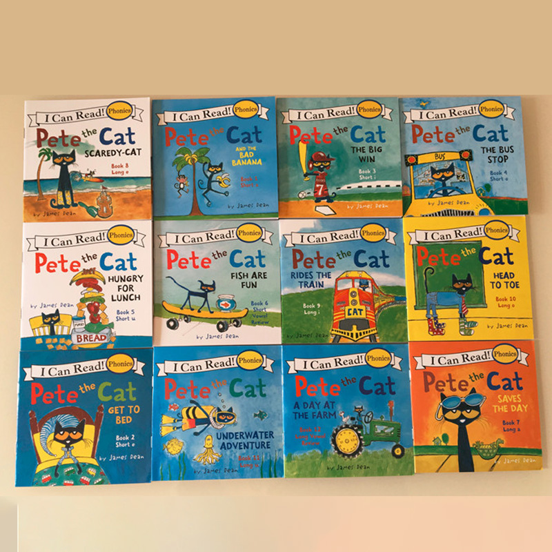 Random 4 Books 13x13cm Picture Books For Kids Children Baby English Pete Cat Series Storybook Child IQ EQ Training Bedtime Story
