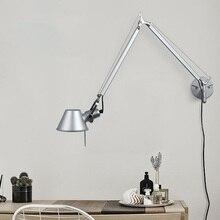 Artpad Modern Minimalist Flexible LED Arm Wall Lights AC90-260V Silver/Black Eye Protection Bedroom Bedside Lamp Fixture