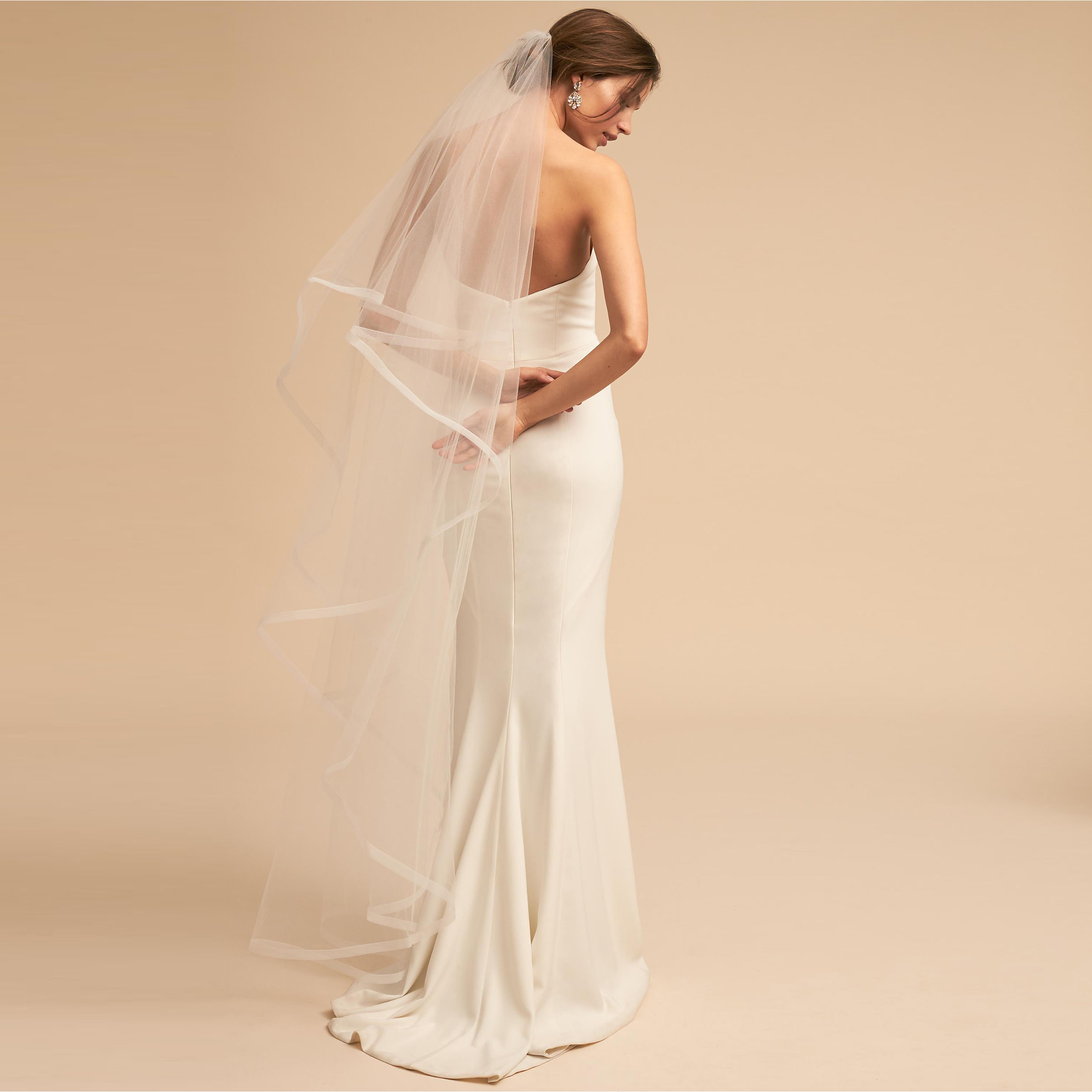 Simple Long Wedding Veil 2019 Two Layer Bridal Tulle Veils with Comb Wedding Accessories velo de novia largo