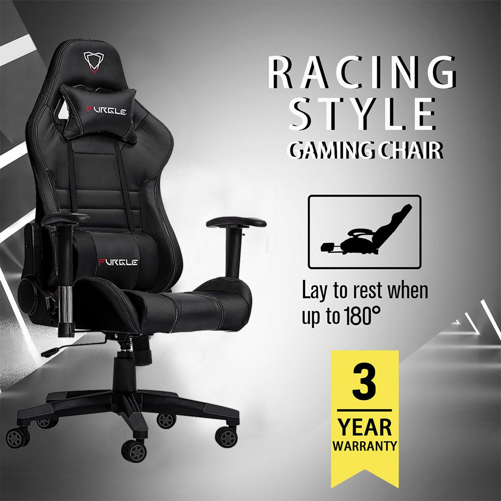 Furgle Modern Office Chair Ergonomic Office Chairs Furniture High-Back PU Lether Gaming Chair Computure Chair Cozy Sleep Chair
