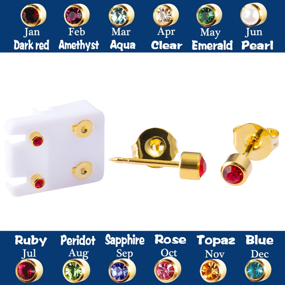 1PAIR 24K Plated Gold Birthstone CZ Zircon Stud Earrings Ear Push Back Tragus Cartilage Piercing Professional For Earring Gun