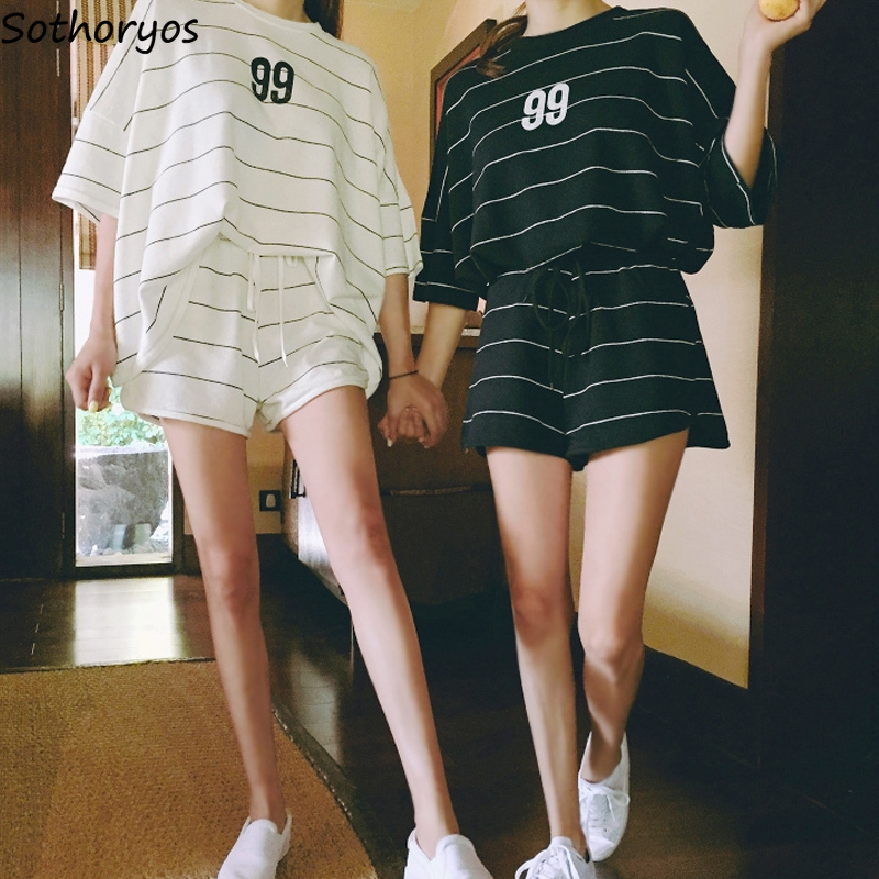 Summer Pajama Sets Women Striped Simple Casual High Elastic Waist Womens Loose Sleepwear Daily Chic Sweet Harajuku Friends New