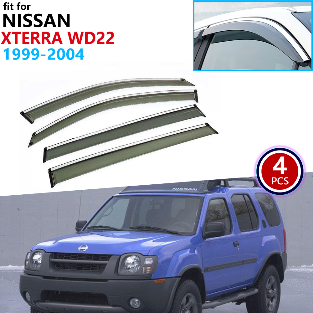 for Nissan Xterra WD22 1999 2000 2001 2002 2003 2004 Window Visor Vent Awnings Rain Guard Deflector Shelters Shield Accessories Car Stickers     - title=