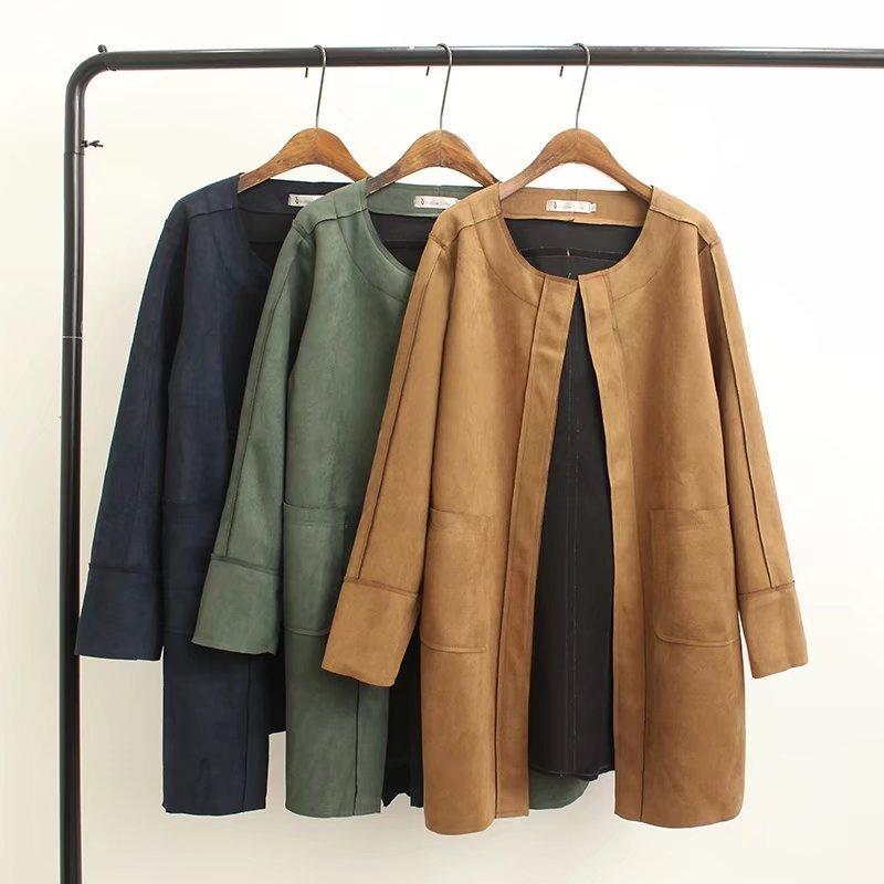 Autumn Spring Long Faux Leather Suede Jacket Women Plus Size Fall Ladies Korean Green Blue Khaki Large Size Faux Suede Coat
