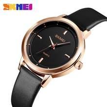 Skmei лучшие брендовые Модные женские кварцевые часы с кожаным