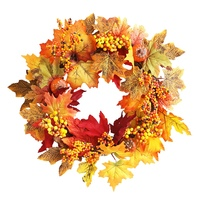 Artificial Maple Leaves Wreath With Pumpkin And Berries Fall Harvest Thanksgiving Halloween Holiday Front Door Wall Hanging