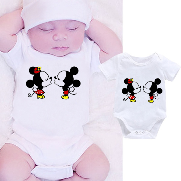 DERMSPE White Newborn Baby Boy Girl Clothes Body Short Sleeve  Lovely Cartoon Letter Romper Jumpsuit Outfit Hot Sales