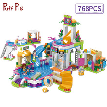City Friends Heart Lake Summer City Pool Party Girls Assembling House Building Blocks  Friends Brick Toy for Children