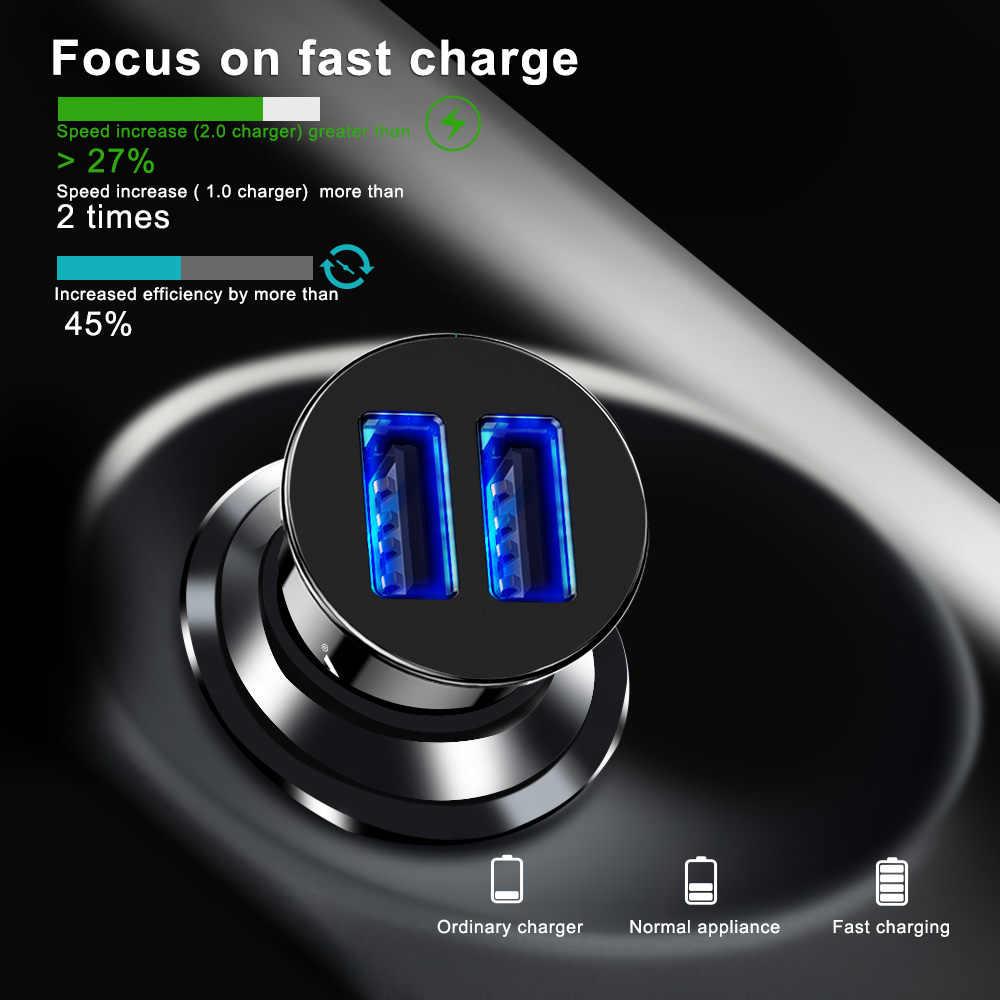Mini Charger Mobil Ganda Usb 5V 3.4A Cepat Pengisian Adaptor untuk Samsung S8 S9 Xiaomi Mi9 Huawei P20 Lite ponsel Ponsel Cepat