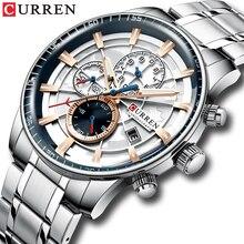 CURREN montre bracelet de luxe pour hommes, multifonction en acier inoxydable, chronographe, Quartz, nouvelle mode