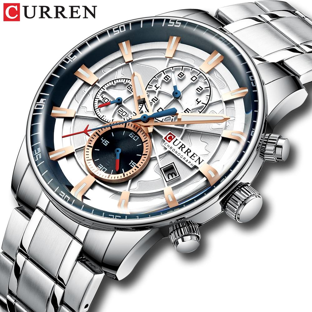 Mens Watches CURREN New Fashion Stainless Steel Top Brand Luxury Multi function Chronograph Quartz Wristwatch Relogio MasculinoQuartz Watches   -