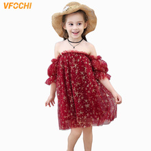 VFOCHI Girl Dresses Summer Cute Girls Party Clothes Shoulderless Lace Baby Kids for 2-10Y Ball Gown