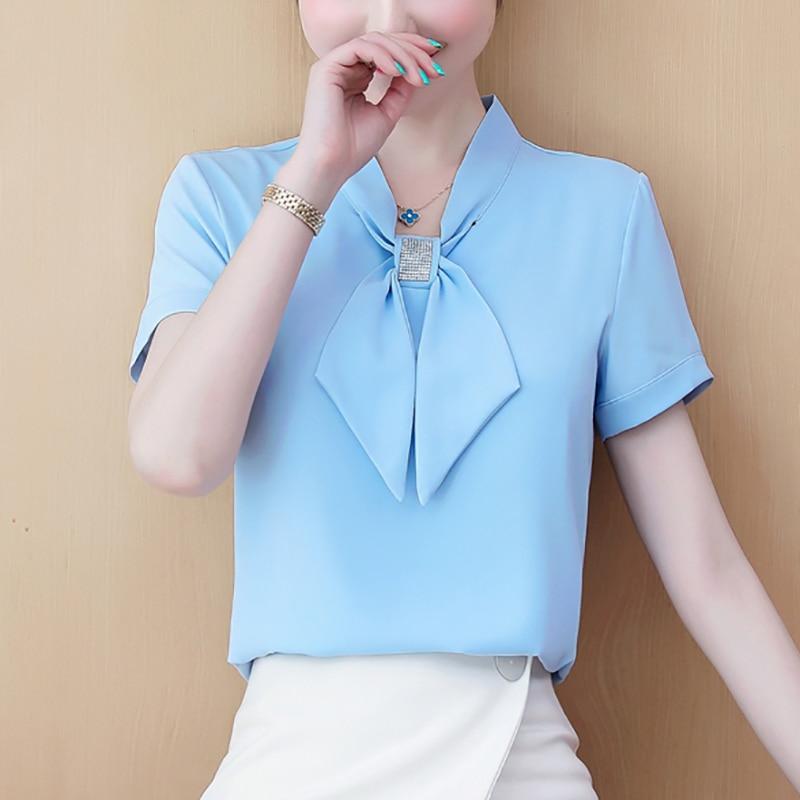 JMPRS Chiffon Women Blouse Pullover Summer Short Sleeve Elegant Bow Loose Plus Size Ladies Tops Fashion Office Korean Blusas Women Women's Blouses Women's Clothings
