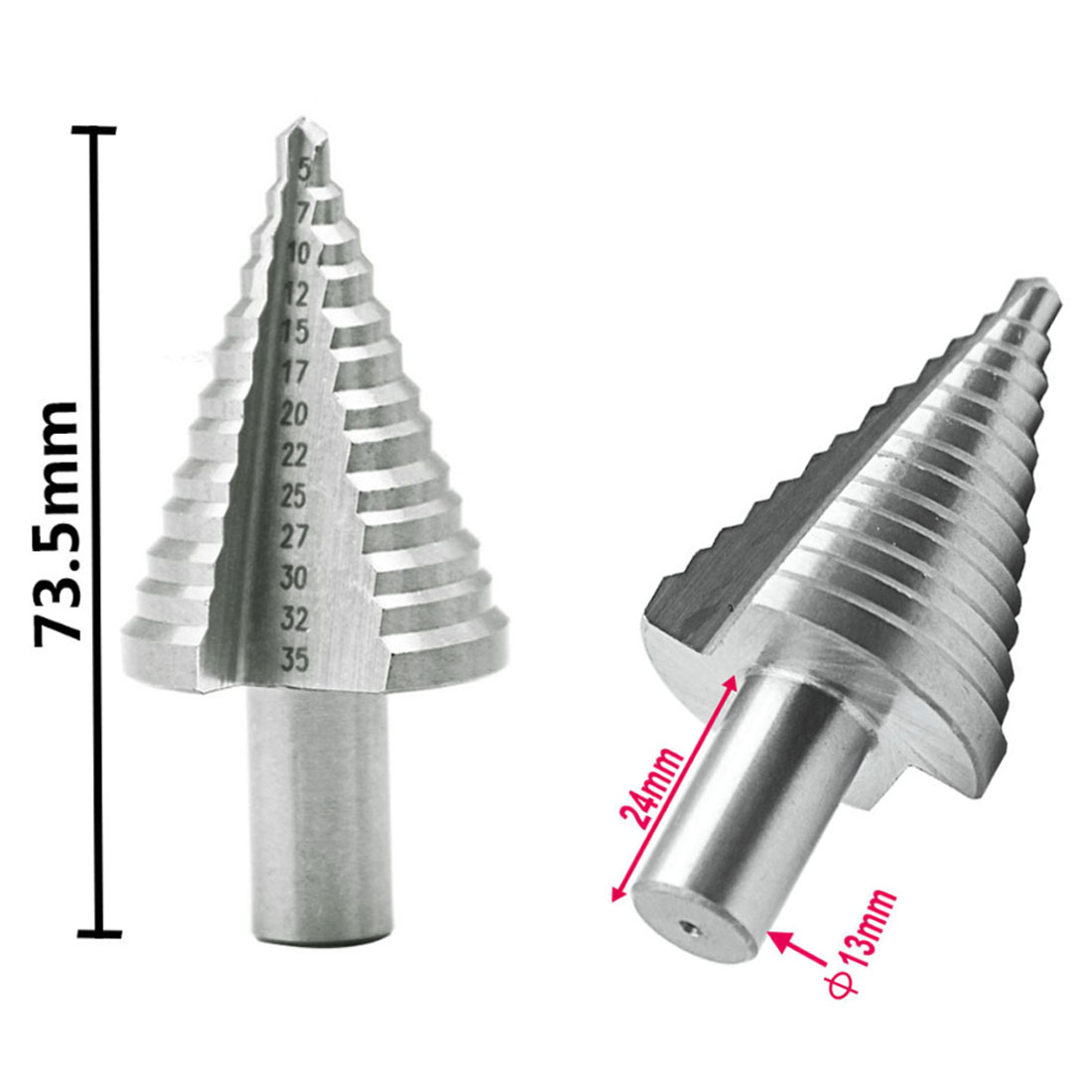 5-35mm Natural High Speed Steel Step Drill 13 Steps Woodworking  HSS Cobalt Reamer Multiple Hole Metal Drilling Tool
