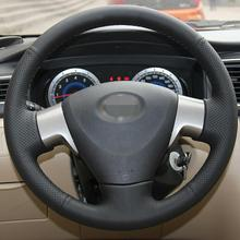 Car Hand-stitched Black Leather Steering Wheel Cover for Toyota Corolla 2006-10 car hand stitched black leather steering wheel cover for toyota corolla 2006 10