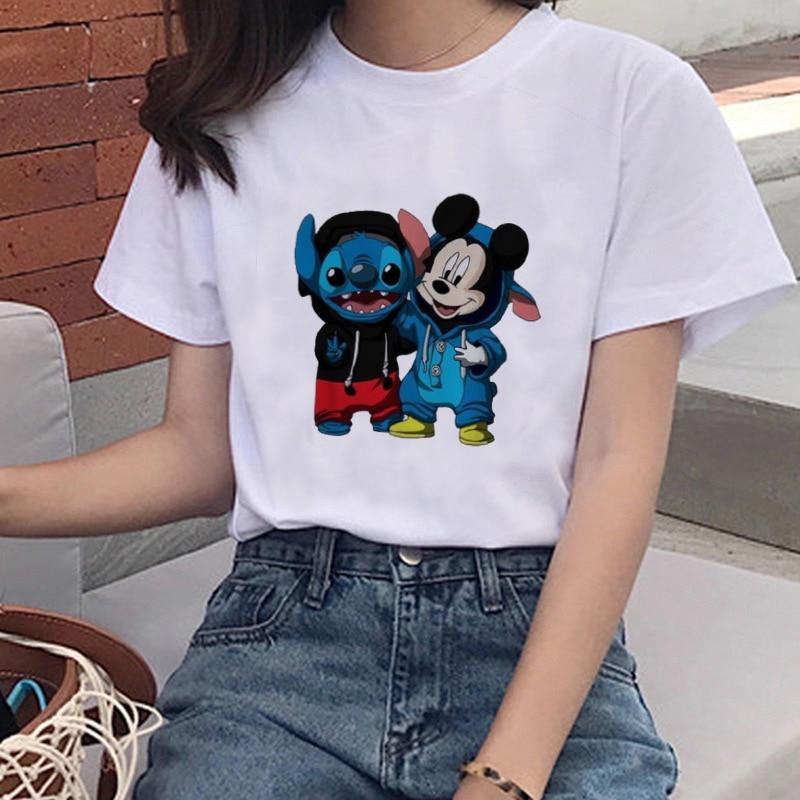 Cartoon Disneys Fashion Women Harajuku Casual T-shirt Cute Cartoon Stitch Graphics Three Women's Clothing T-shirt