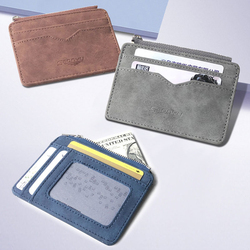 Retro Matte Leather Men's Card Wallet Quality Short Multi-card Frosted Card Holder Money Mini Purse  Business Credit Card Holder
