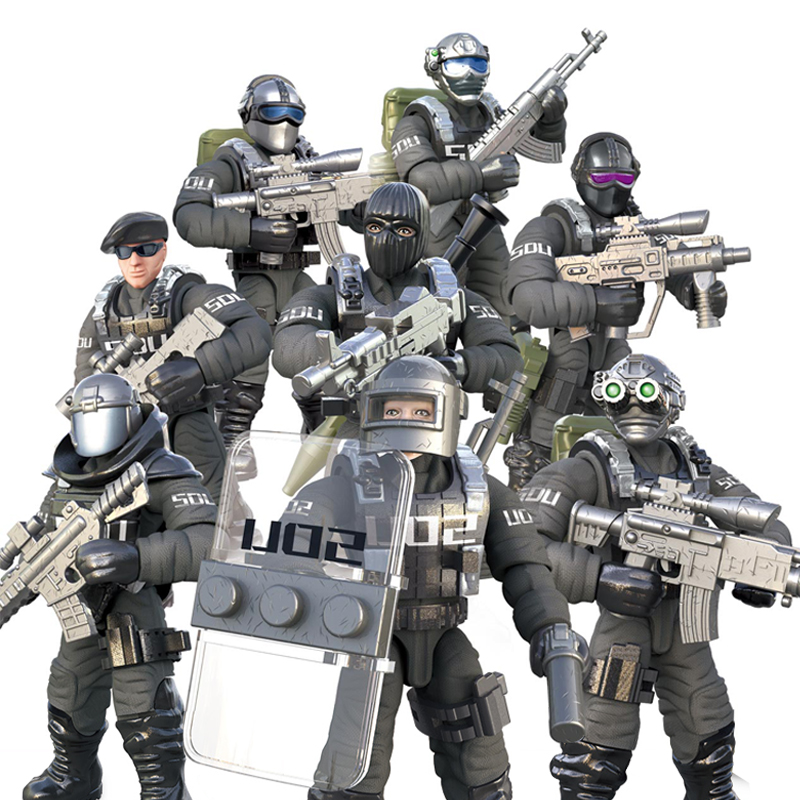 1:36 <font><b>Scale</b></font> Modern Military Solider Figure Toys Set S.D.U Army SWAT Action figures Team Model Combat <font><b>Gun</b></font> Game Toys For Boys Gift image