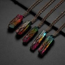SEDmart 7 Чакра Ainbow натуральный камень медная проволока кулон ожерелье для женщин мужчин длинная цепь Древо жизни состояние мужчины t ювелирные изделия подарок