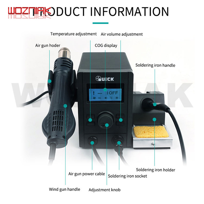 QUICK 715 Newest 2in1 Rework And Soldering Station Equal To QUICK 2008 Air Gun And QUICK 936A Soldering Iron Combination