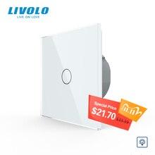 Livolo האיחוד האירופי תקן דימר מתג קיר, AC 220 ~ 250V, קריסטל זכוכית פנל, 1 כנופיית 1 דרך דימר, VL C701D 1/2/3/5, אין לוגו