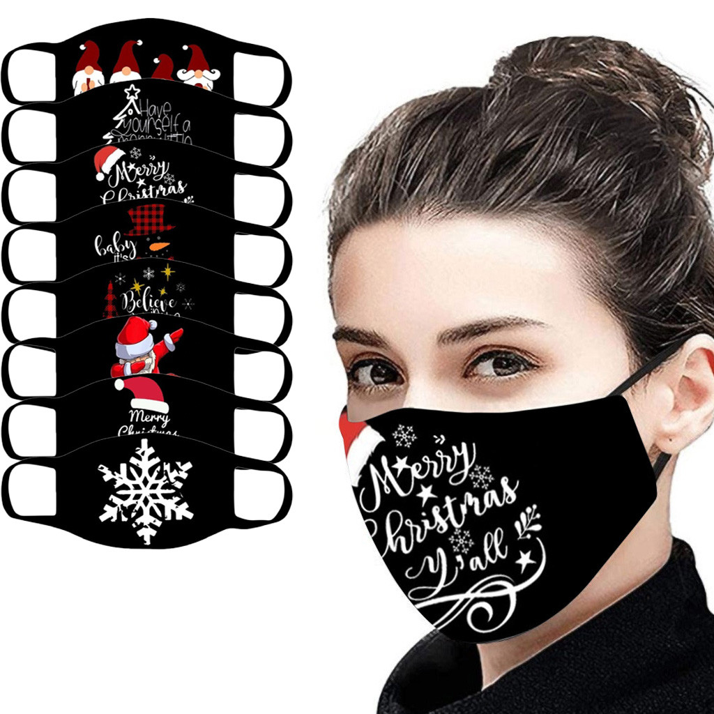 1pc Cotton Adult Mouth Mask Christmas Print Resue Breathable Multi-purpose Face Cover Reuse Mask Facemask Mascarilla Mascarar