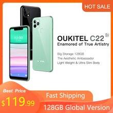 OUKITEL C22 Global Version Smartphone 4GB RAM 128GB ROM Triple Camera Light Weight 2.5D Glass Back 2.0Ghz 000mAh Mobile Phone