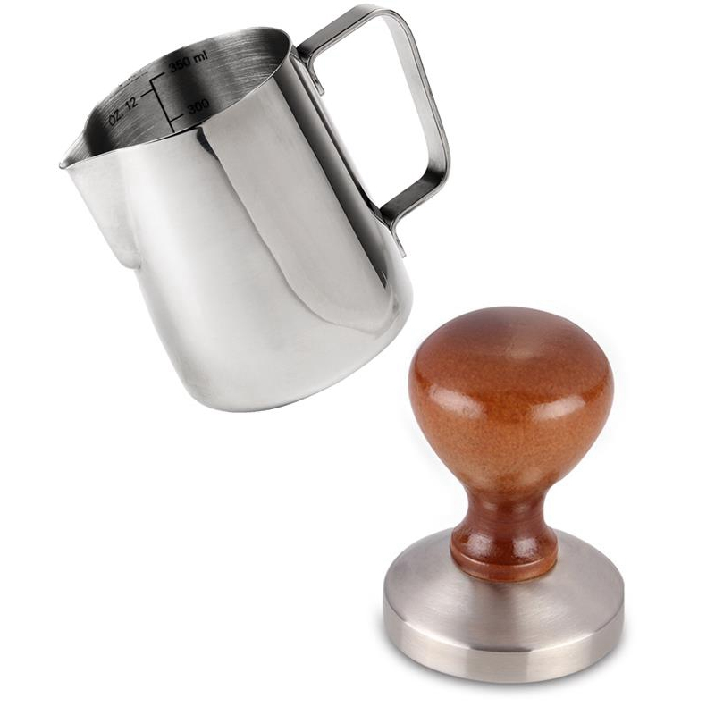 58Mm Espresso Coffee Tamper With 12 Oz Frothing Pitcher Barista Style American Flat Base Wood Handle Solid Heavy Stainless Steel