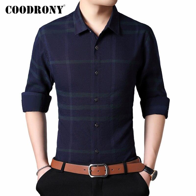 COODRONY Brand Men Shirt Fashion Striped Business Dress Casual Shirts Autumn Long Sleeve Cotton Shirt Men Camisa Masculina 96084